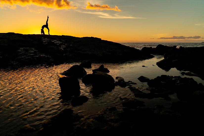 Yoga at Hawaii Sunset
