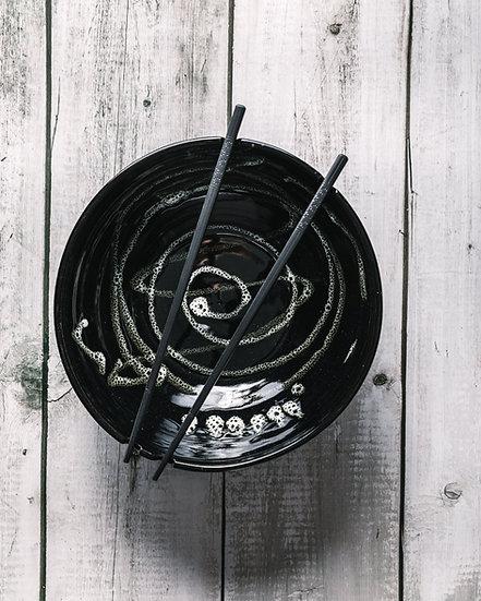 Black Splatter Noodle Bowl