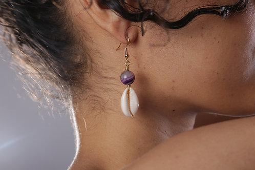 Purple Agate Shell Earrings