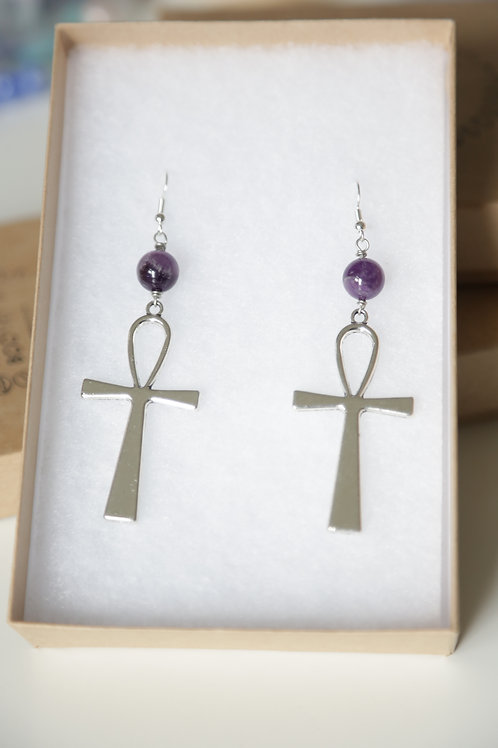 Healing Crystal Ankh Earrings