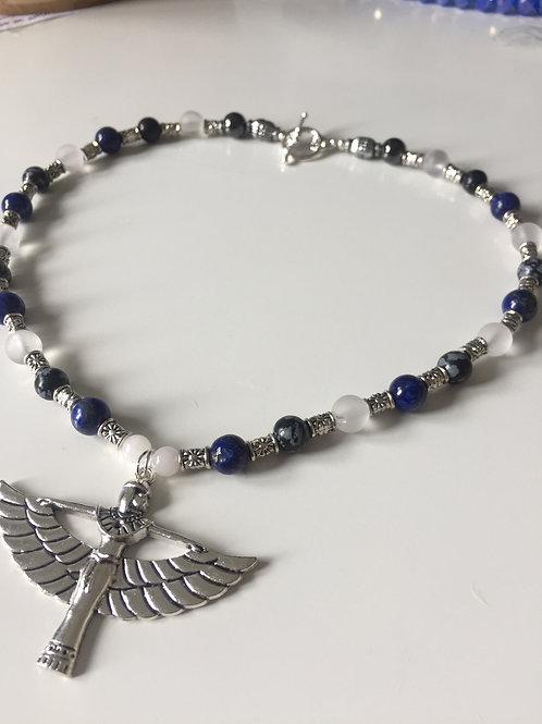Isis w/ Lapis Lazuli, Obsidian,Clear Quarts, White Jade