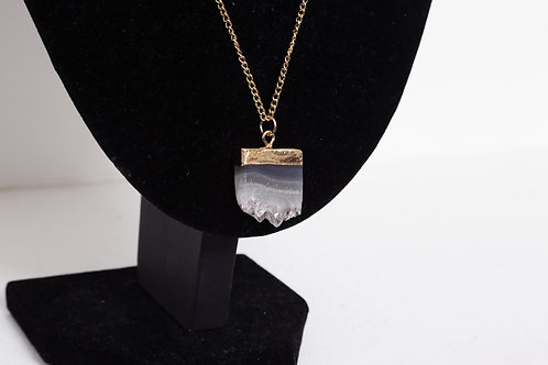 Amethyst Slice Gold Plated Necklace