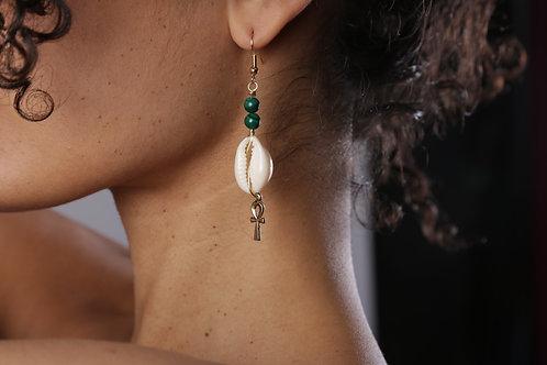 Malachite, Ankh, Shell earrings
