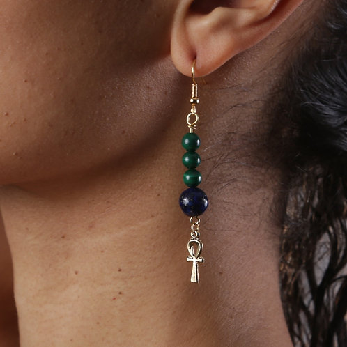 Lapis Lazuli & Malachite, Ankh Earrings