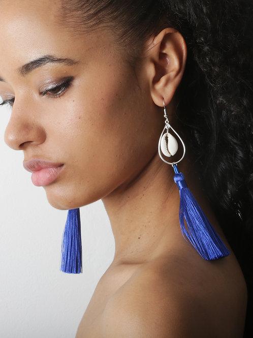 Sterling Silver Cowrie Shell Tassel Earings