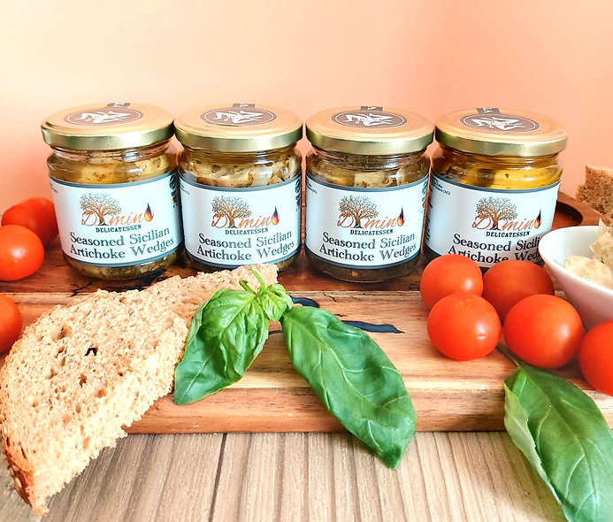 Seasoned Sicilian Artichoke Wedges -  Set of 4 Jars - 200g