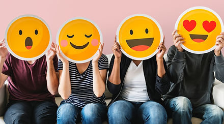 Diverse people covered with emoticons.jp