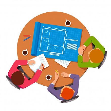grupo-de-arquitetos-discutindo-planos-de