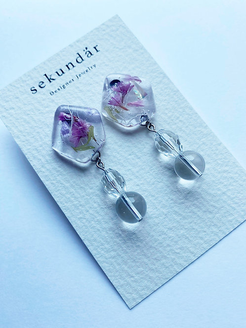 Flower Stone Drop Earrings-Lila