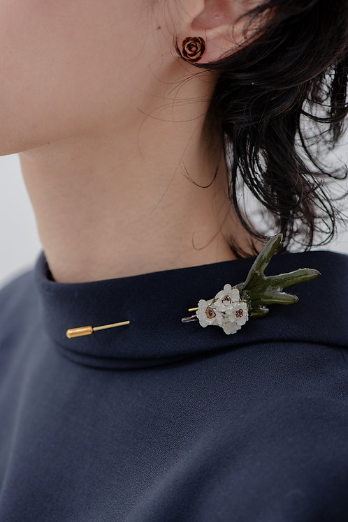 French White Yarrow Brooch