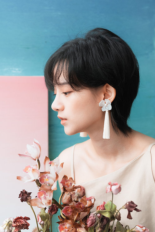 Blossom Earrings-White