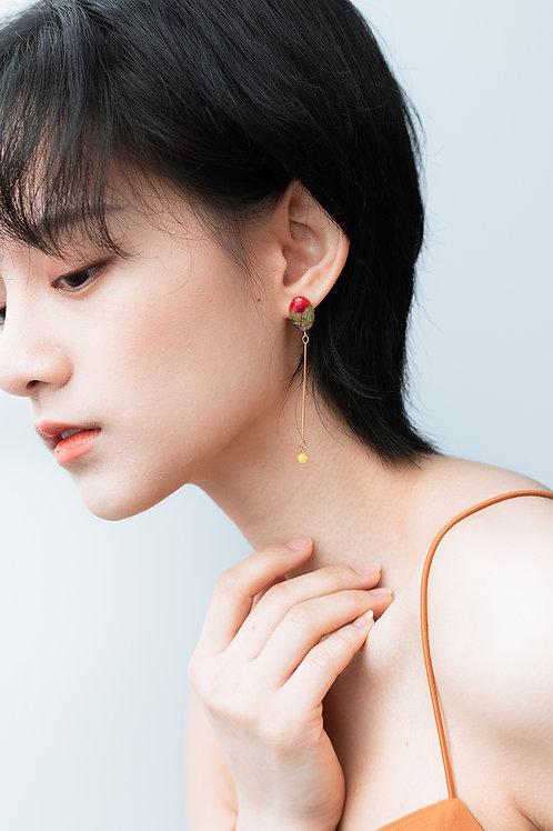 Morning Dew Drop Earrings-Red