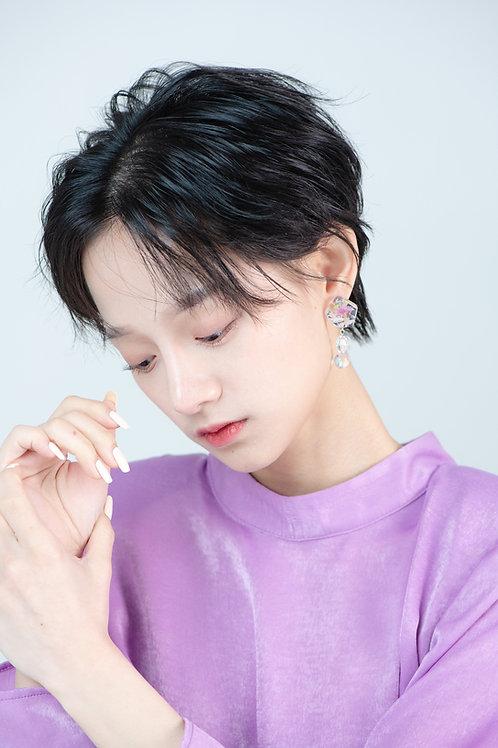 Flower Stone Drop Earrings-Lila