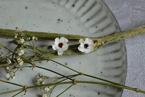 French White Yarrow Flower Earrings