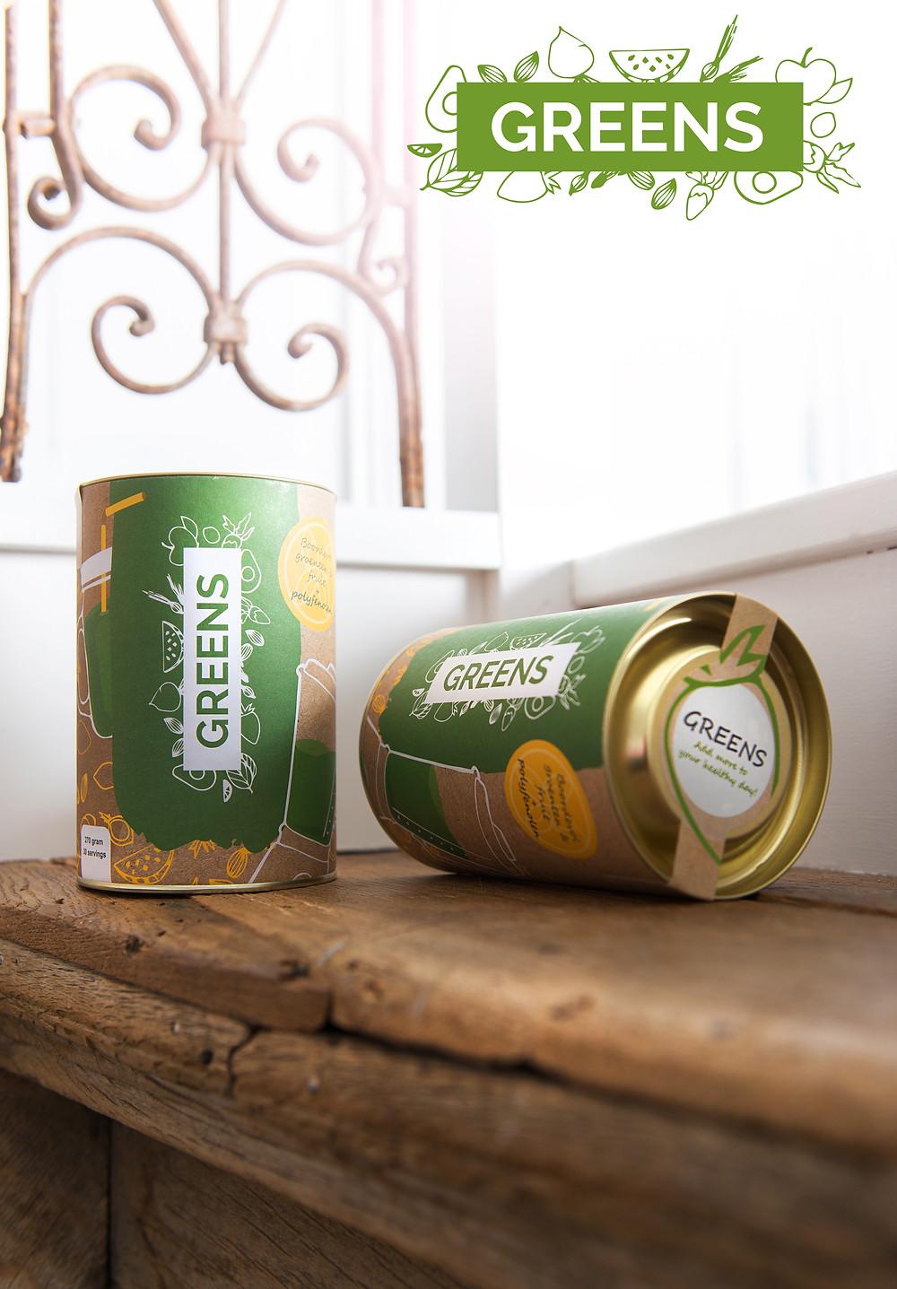 Greens, 270 gram. Genoeg voor 30 dagen. Prijs: 40 euro