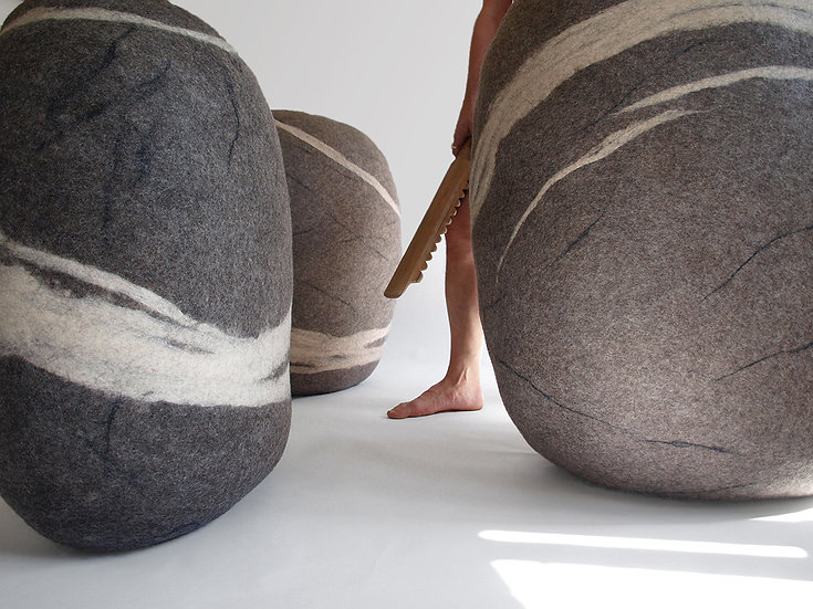 Soft felted KATSU stone from natural wool of gray color model Giant Rock.