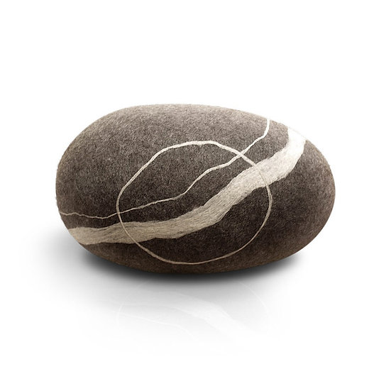 Soft felted KATSU stone from natural wool of gray color model Sea Boulder.