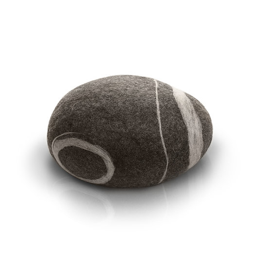 Soft felted KATSU stone from natural wool of gray color model Stone baby.