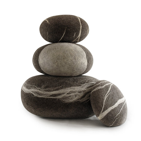 Soft felted KATSU stone from natural wool of gray color.