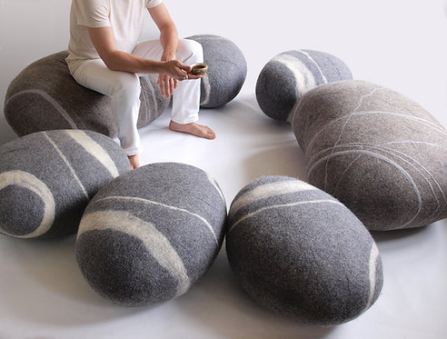 A set of soft felted Katsu stones.