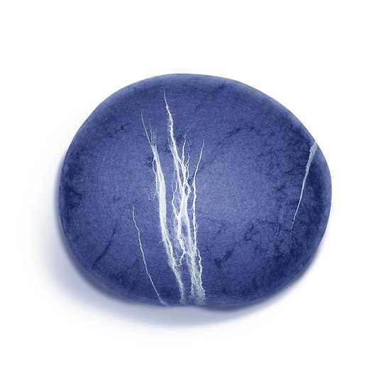 Soft felted KATSU stone from natural wool of blue color model Blue stone.