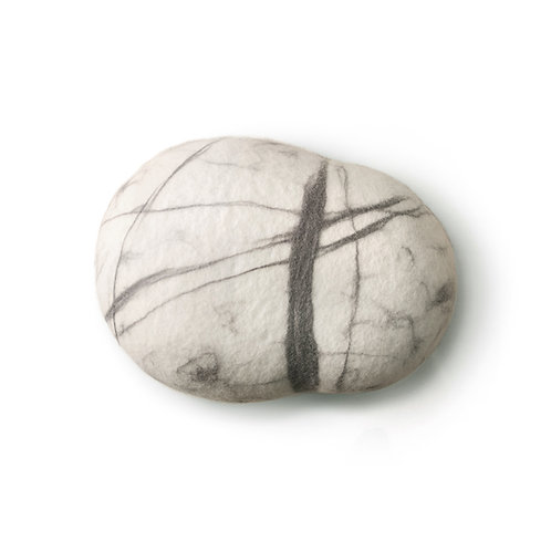 Soft felted KATSU stone from natural wool of white and brown colors model White stone.