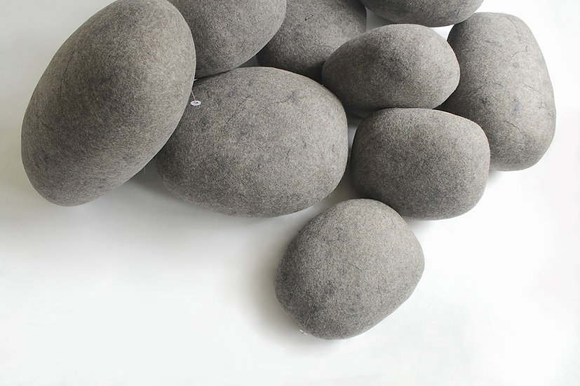 Soft felted KATSU stone from natural wool of gray color model Nord.