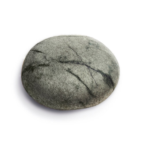 Soft felted KATSU stone from natural wool of gray color Model Agat.
