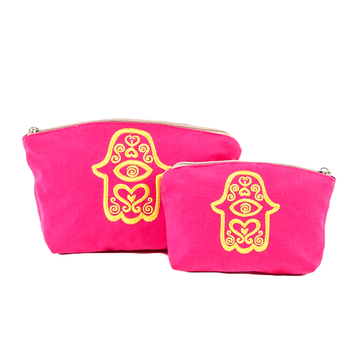 HAND MOTIF EMBROIDERED MAKE UP POUCH SET