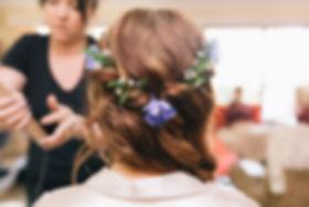 Vintage Wedding Hair with purple flowers