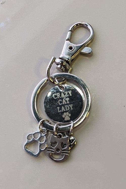 Crazy Cat Lady Charm Keychain
