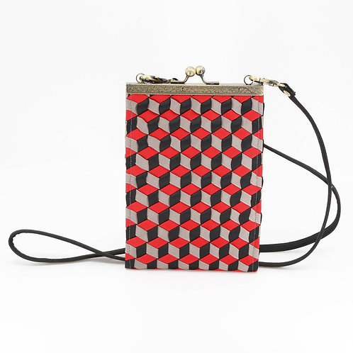 Geometric Woven Ribbon Phone/Shoulder Bag