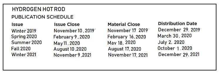 Hydrogen Hot Rod Advertising Schedules 2
