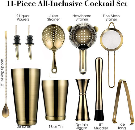 11-Piece Weighted Boston Shakers,Cocktail Strainer Set