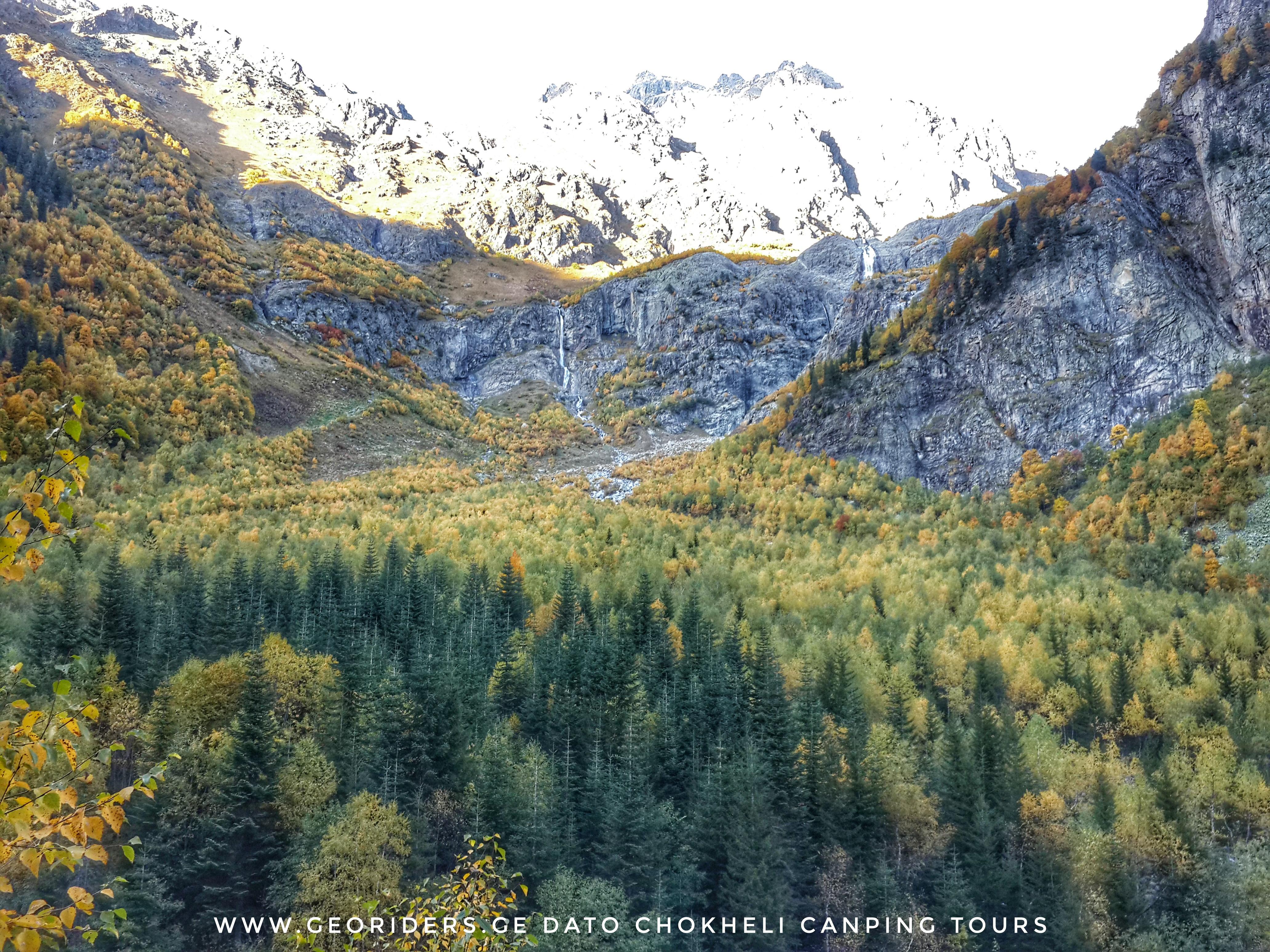 Svaneti view of Ushba water fall