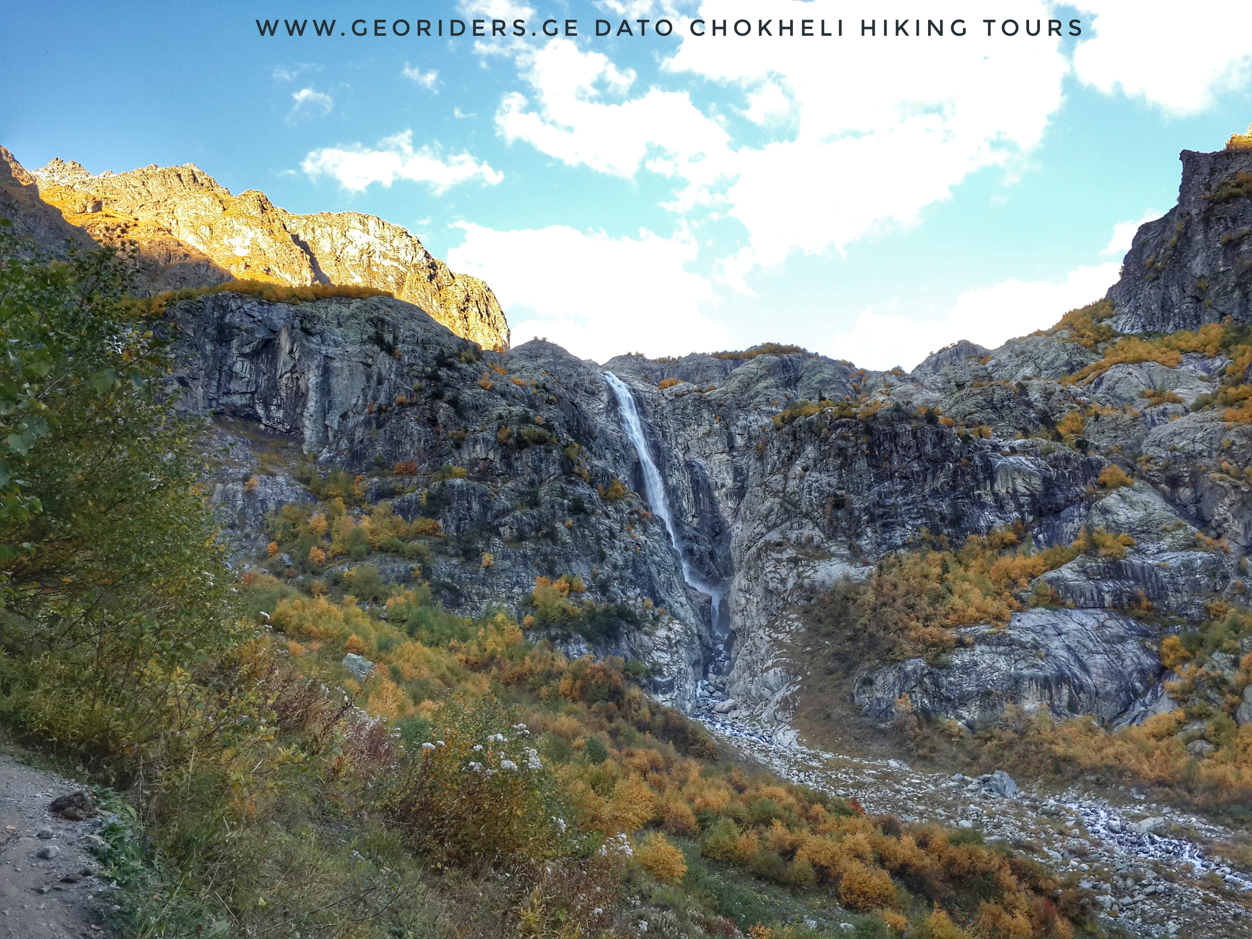 Water fall from Ushba mountain