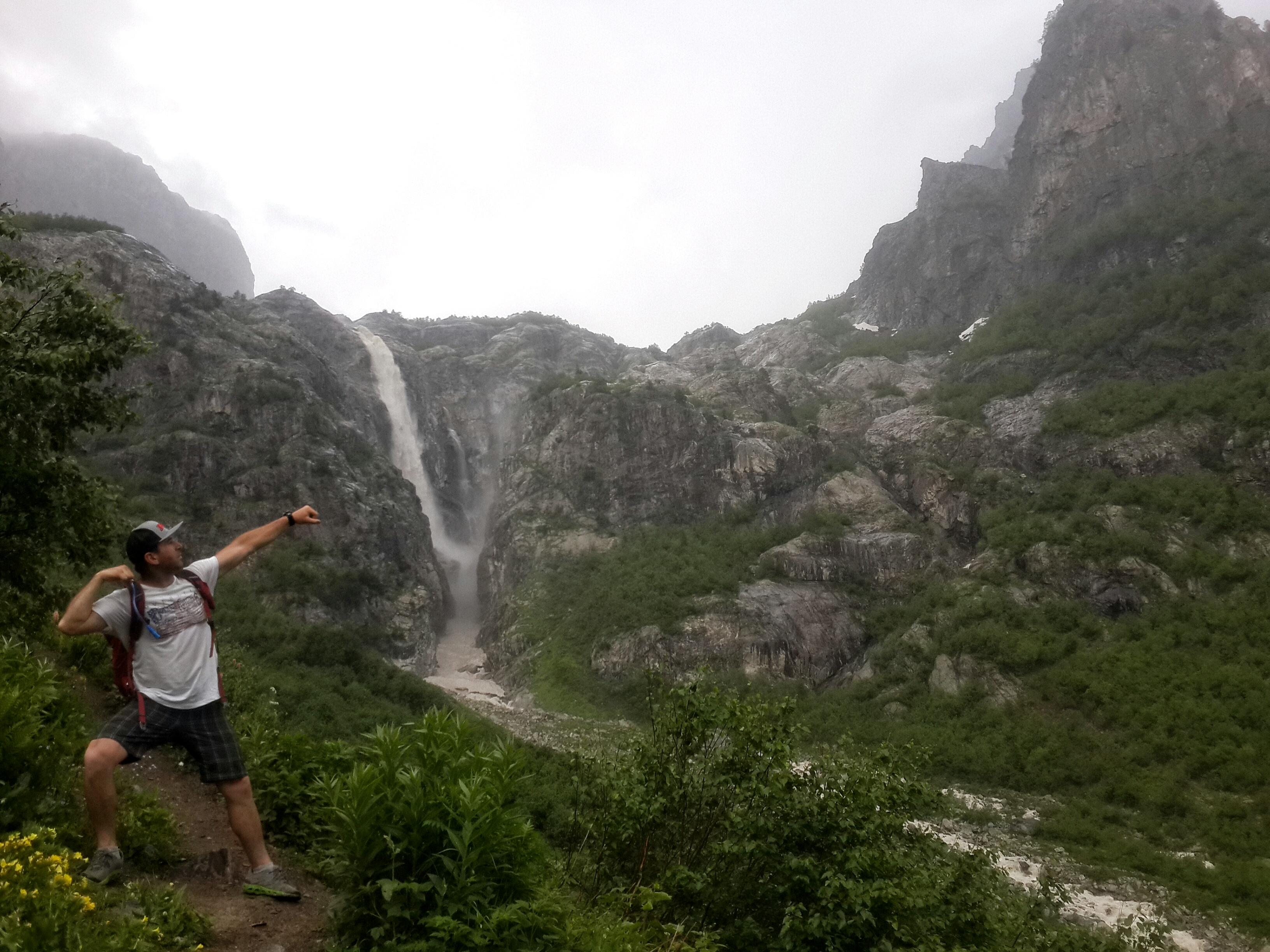 Water fall in Ushba mountain Svaneti