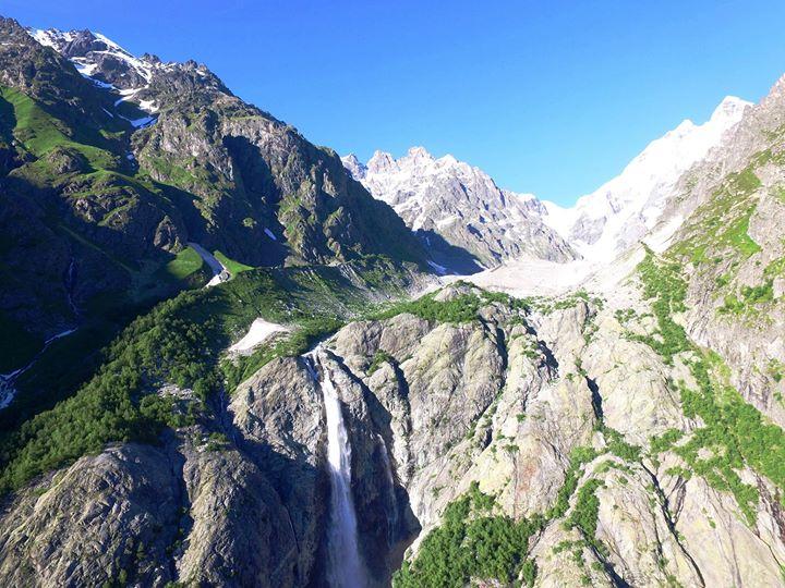 Water fall from Ushba mountain Svan