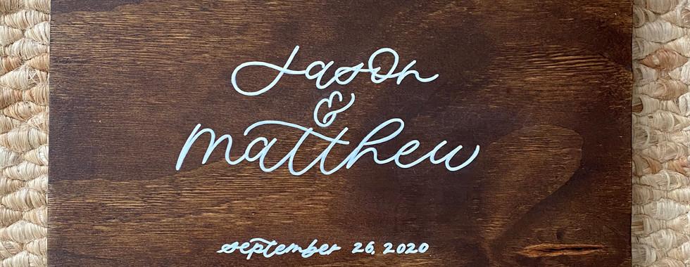 Small Stained Wood Wedding Keepsake