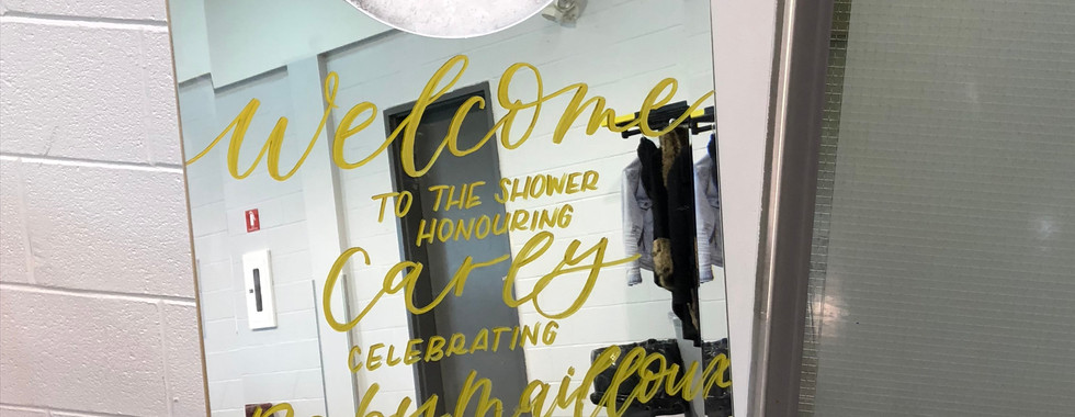 Mirrored Baby Shower Welcome Sign
