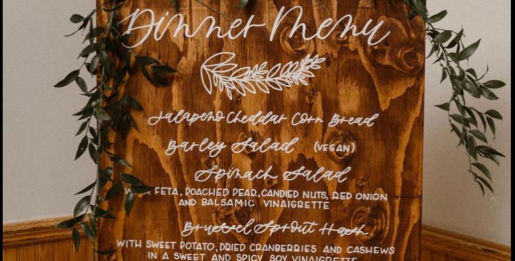 Wooden Dinner Menu Wedding Sign