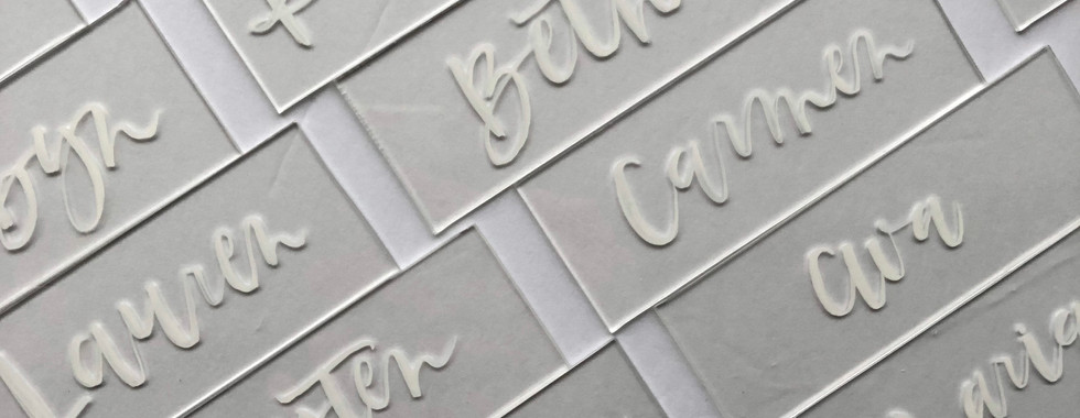 Acrylic Place Cards with Brush Calligraphy