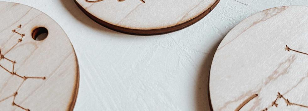 Wood Circle Zodiac Ornament