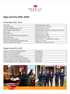 Dates and Fees 2021-2022