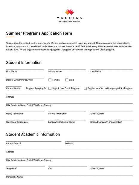Summer Programs Application Form
