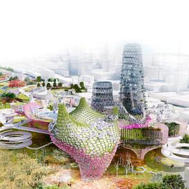 """""""綠色種子""""位於鳳山的綠色城市。台灣。 2014年"""