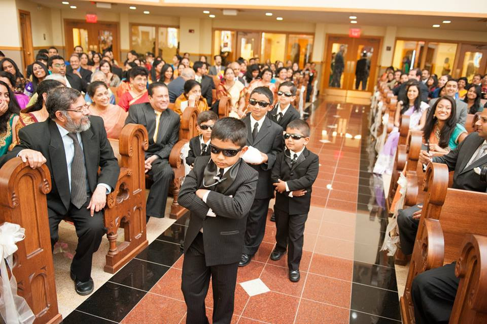 Dressing up our ring bearers ( we had 5!) as secret service agents...they had so much fun protecting the ring! Everyone in attendance throughly enjoyed it as well.