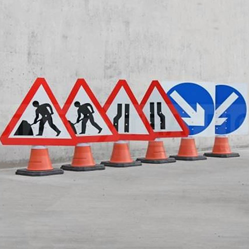 Cone Road Sign 600mm x 600mm