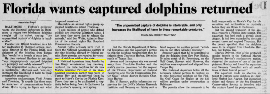 Dr. Jay Sweeney's Known Dolphin Captures Before Opening Dolphin Quest