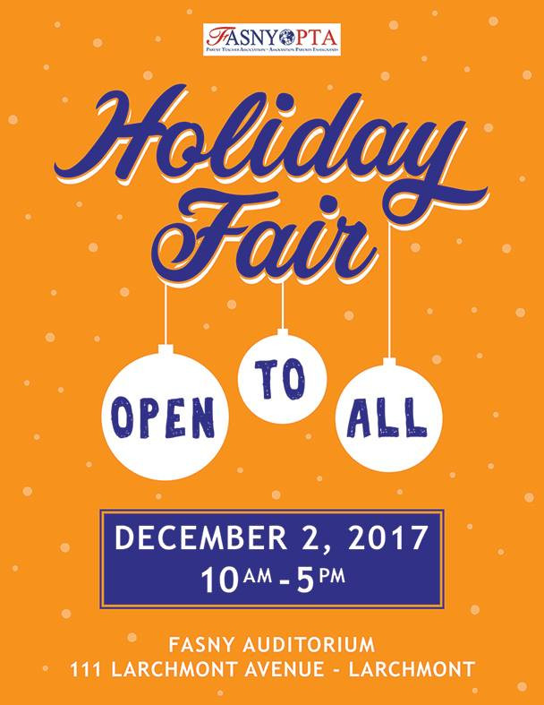 Join me this Dec 2nd, 2017 at the FASNY Holiday Fair, from 10 PM to 5 PM!